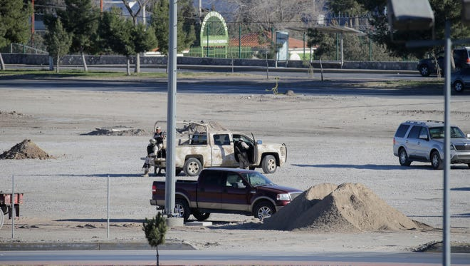 Mexican law enforcement agencies are stationed Friday at the construction site for the altar in Juárez where Pope Francis will celebrate Mass on Feb. 17.