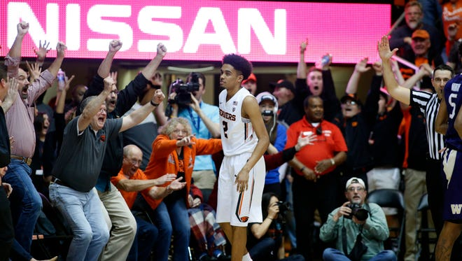 Oregon State's Stephen Thompson Jr. (2) in the second half of an NCAA college basketball game in Corvallis, Ore., on Wednesday, Feb. 24, 2016.