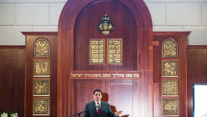 Israel's ambassador to the United Nations, Danny Danon, addresses attendees at Chabad Jewish Center of Naples on Sunday, Feb. 26, 2017.