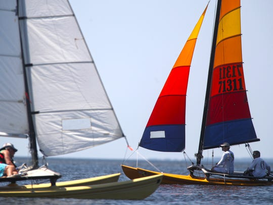 Sailors and windsurfers compete at the 45th Annual Stephen C. Smith Memorial Regatta last year at Shell Point Beach in Wakulla County. This year's event starts Friday.