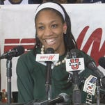 A'ja Wilson smiles after announcing her commitment to South Carolina on April 16, 2014.