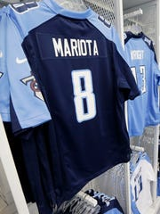 Jerseys for rookie Tennessee Titans quarterback Marcus