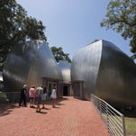 Three of the four pods at the Ohr-O'Keefe Museum of Art in Biloxi are in various stages of completion, with one completed and open to visitors.
