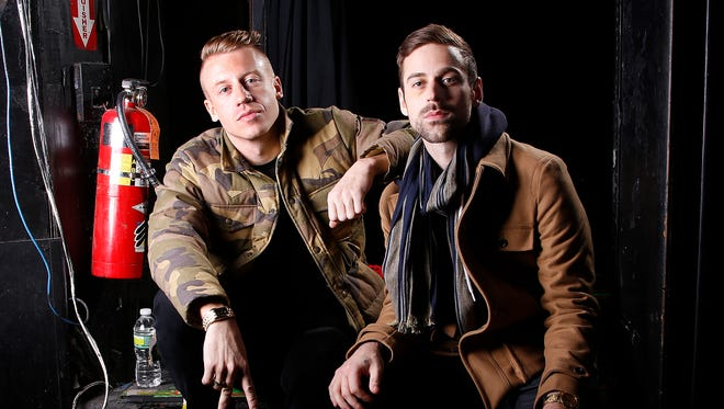 Ben Haggerty, better known by his stage name Macklemore, left, and his producer Ryan Lewis at Irving Plaza in New York in November 2012. The newcomers will battle heavyweights Justin Timberlake and Taylor Swift for the top prize at the 2013 American Music Awards.