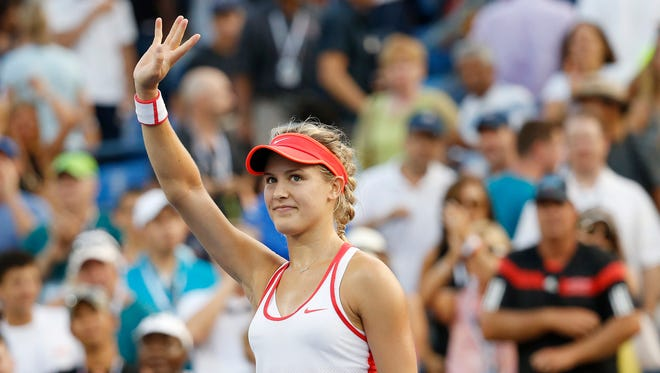 Eugenie Bouchard of Canada waves to the crowd after her match against Dominika Cibulkova of Slovakia (not pictured) on day five of the 2015 U.S. Open tennis tournament at USTA Billie Jean King National Tennis Center.