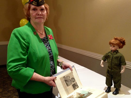 Precilla Wilkewitz, VFW state quartermaster, talks about her service in Vietnam from 1968-1969. She was one of more than 1,200 non-nurse women who served there. She shows photos from her time in Long Binh. A friend had a doll made to look like she did in her fatigues.