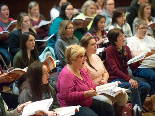 Members of the Greater South Jersey Chorus rehearse, at the Haddonfield Center and School for the Performing Arts at Grace Church, for their upcoming  performance of The Messiah with Symphony in C. 11.28.16