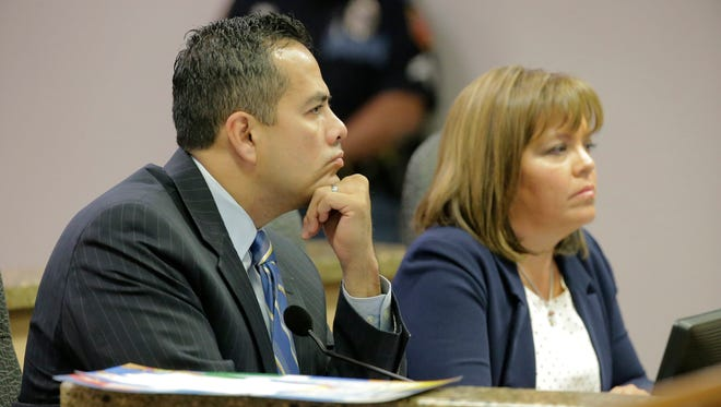 City Manager Tommy Gonzalez and City Attorney Sylvia Borunda Firth during a previous council meeting.