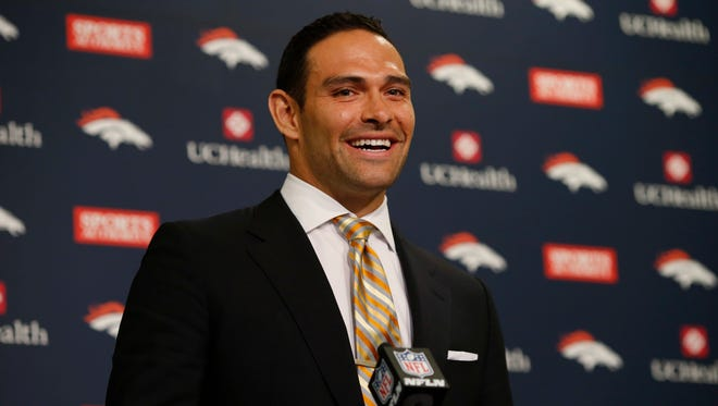Denver Broncos quarterback Mark Sanchez responds to questions during a news conference early Monday, March 14, 2016, at the team's headquarters in Englewood, Colo.