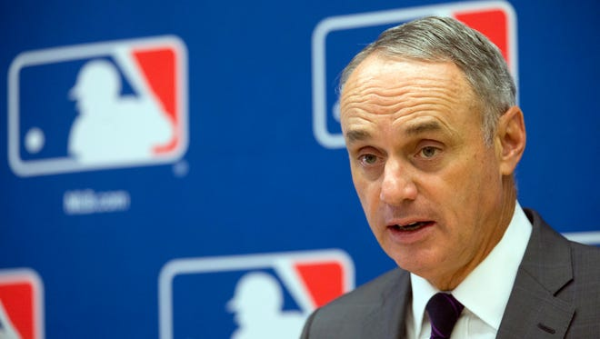 In this May 19, 2016, file photo, baseball Commissioner Rob Manfred speaks to reporters during a news conference at Major League Baseball headquarters in New York.