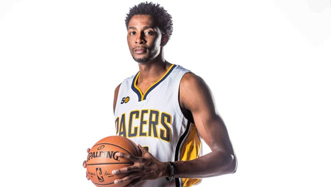 The Indiana Pacers No. 22, Jeremy Evans poses for photos on Media Day at Bankers life Fieldhouse, Monday September 26th, 2016.