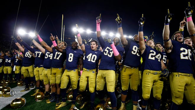Notre Dame Fighting Irish react to winning against the Miami Hurricanes at Notre Dame Stadium. Notre Dame defeats Miami 30-27.