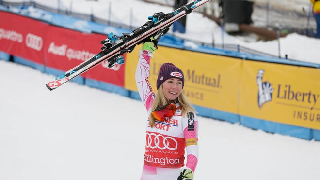 Mikaela Shiffrin of the United States celebrates after the women's slalom race in the FIS alpine skiing World Cup at Killington Resort on Nov. 27.