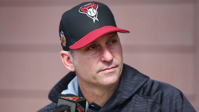 Arizona Diamondbacks manager Torey Lovullo holds a press conference as pitchers and catchers report to spring training camp on Feb. 13, 2017 at Salt River Fields in Scottsdale, Ariz. D-Backs hold their first workout on Tuesday.