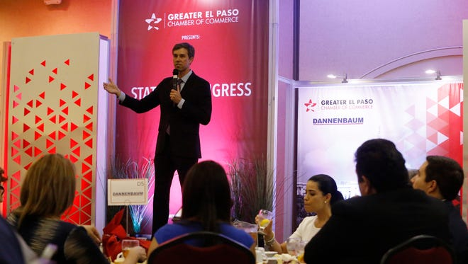 U.S. Rep. Beto O'Rourke, D-El Paso, speaks Friday during the fourth annual State of Congress luncheon at the Wyndham El Paso Airport Hotel.