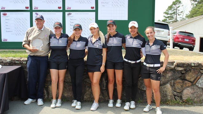 The UTEP women's golf team poses after winning their most recent invitational.