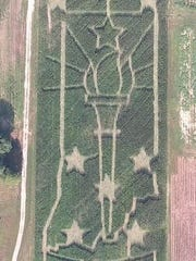 Mayse's corn maze this year is Indiana with its bicentennial torch.
