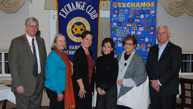 Pictured, from left, are: Ed Temple, Exchange Club of Hanover president; Jan Zeigler, interim executive director, Children's Aid Society; Terri Hamrick, president/CEO, Survivors Inc; Ann Acker, director, Safe Home; Juanita Jones, Domestic Abuse Solutions Program director, SpiriTrust Lutheran Foundation; and Jim Holler, chair, board of directors, Survivors Inc.