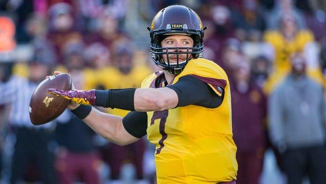 Nov 21, 2015; Minneapolis, MN, USA; Minnesota quarterback Mitch Leidner threw for 2,701 yards and 14 TDs last season.