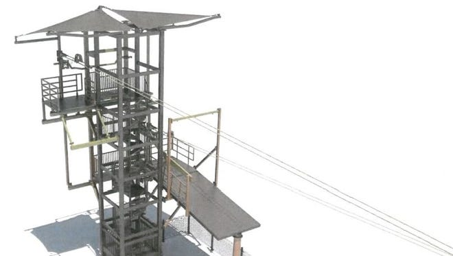 A rendering of the proposed zip line that would cross the Grand River in downtown Lansing