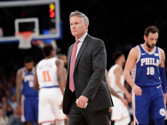 Philadelphia 76ers head coach Brett Brown reacts during the first half of an NBA basketball game against the New York Knicks, Thursday, March 15, 2018, in New York. (AP Photo/Frank Franklin II)