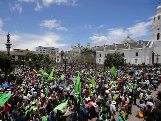 Supporters of presidential candidate Lenin Moreno of