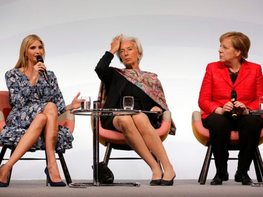 Ivanka Trump, daughter and adviser of U.S. President Donald Trump, International Monetary Fund Managing Director Christine Lagarde and German Chancellor Angela Merkel, from left, attend a panel at the W20 Summit in Berlin Tuesday, April 25, 2017. The conference aims at building support for investment in women's economic empowerment programs.