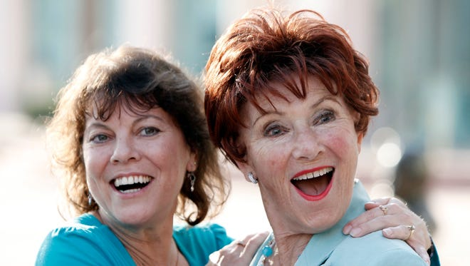 "In this June 18, 2009 file photo, actresses Erin Moran (left) and Marion Ross pose together at the Academy of Television Arts and Sciences' ""A Father's Day Salute to TV Dads"" in the North Hollywood section of Los Angeles."