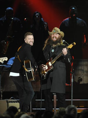 Justin Timberlake, left, and Chris Stapleton bring the house down with their performance during the 49th annual CMA Awards show Nov. 4, 2015.