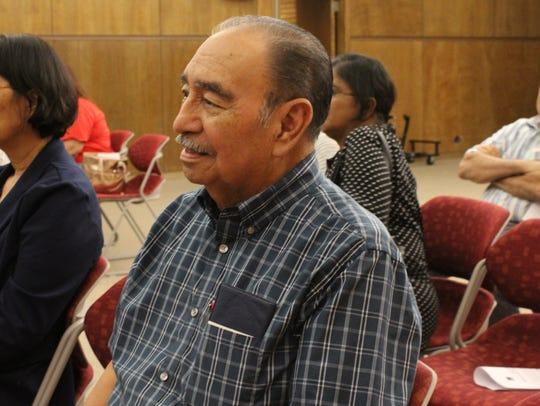 Bert de la Vega, center, listens to a citizenship presentation in 2017 at the downtown Abilene Public Library.