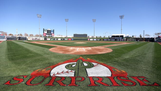 A view of Surprise Stadium, the spring training home of the Kansas City Royals and the Texas Rangers.