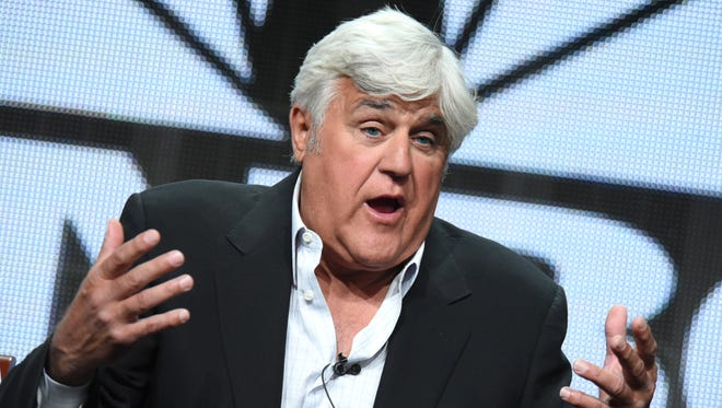 """Jay Leno participates in the """"Jay Leno's Garage"""" panel at the The NBCUniversal Summer TCA Tour on Aug. 13, 2015 at the Beverly Hilton Hotel in Beverly Hills, California."""