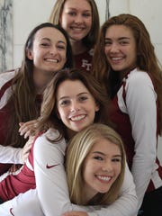 Five seniors have helped transform Foothill Tech from a fledgling program to a CIF-SS finalist in four years. Clockwise from bottom: Heather Ellison, Faith Mackie, Taryn Savard, Morgan Gallagher and Techelle Pagan.
