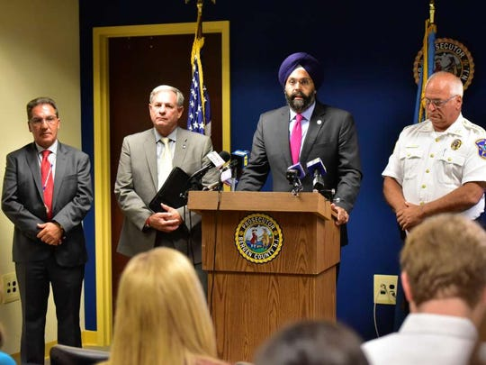 Bergen County Prosecutor Gurbir S. Grewal and Bergen County Sheriff Michael Saudino along with Bergen County Executive James Tedesco and Michael J. Paolello, Executive Director of Bergen Regional Medical Center, at a press conference in Hackensack on Sept. 1 discussing details of Operation Helping Hand.