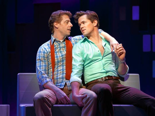 "Christian Borle, left, and Andrew Rannells have an on-again, off-again, on-again relationship in ""Falsettos."""
