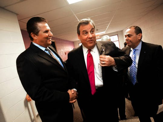 Gov. Chris Christie shaking hands with Essex County