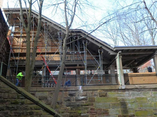 A view of the renovations at the Glen Ridge train station shows the stairway removed and ready for replacement in early March. Local officials are questioning why construction work has appeared to cease at the station.