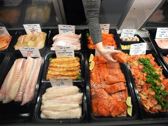 Some of the shop's fresh offerings at The Fish Dock in Closter.