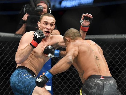 "Anthony Rocco Martin (left) fights in Wichita, Kansas in March. He will take on Demian Maia in the feature fight during ""UFC on ESPN: Ngannou vs. dos Santos"" Saturday at the Target Center."