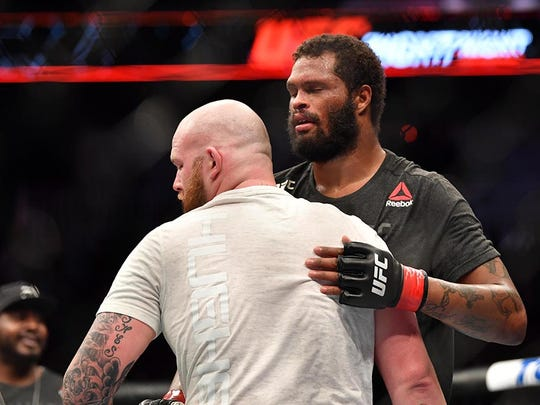 "Maurice Greene (right) meets with his opponent Jeff Hughes in Wichita, Kansas in March. He will take on Junior Albini in a heavyweight fight on the preliminary card during ""UFC on ESPN: Ngannou vs. dos Santos"" Saturday at the Target Center."