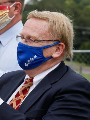 Springfield Mayor Ken McClure, wears a mask during an Aug. 11 groundbreaking ceremony a new elementary school. McClure is urging Gov. Mike Parson to make masks mandatory statewide.