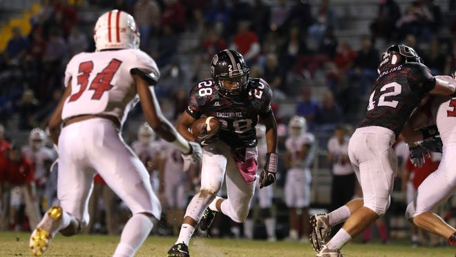 Chiles' Morris Canty runs the ball against Leon during their game at Cox Stadium on Friday, Oct. 27, 2017.