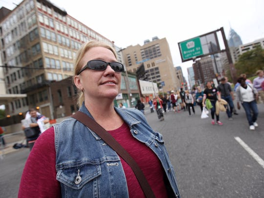 """Jennifer Smith, from Indianapolis, arrived in Philadelphia Friday, spent Saturday """"sinning"""" in Atlantic City and will celebrate Mass with Pope Francis Sunday evening."""