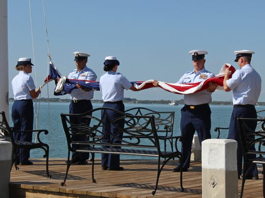 A color guard from the Fort Pierce Coast Guard Station