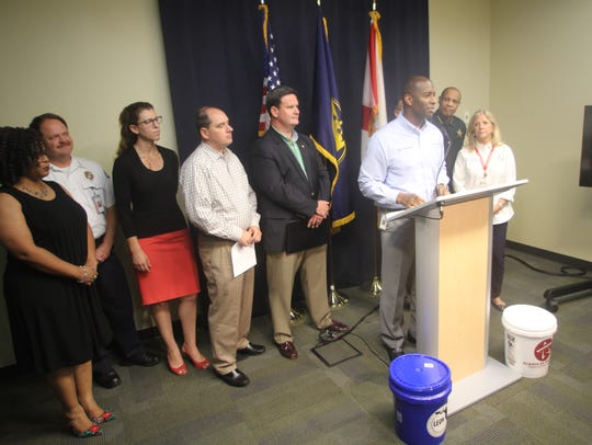 Mayor Andrew Gillum addresses residents before Hurricane