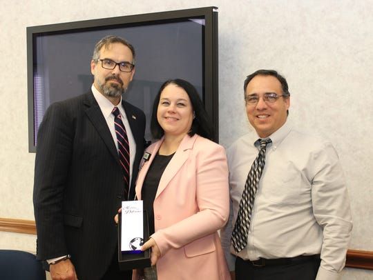 Shannon Medical Center wins Local Employer of Excellence Award on Thursday, Oct. 26. From left to right, CEO of Shannon, Shane Plymell; COO and CNO of Shannon, Pam Bradshaw; and chairman of the Concho Valley Workforce Development Board, Moe Connell.