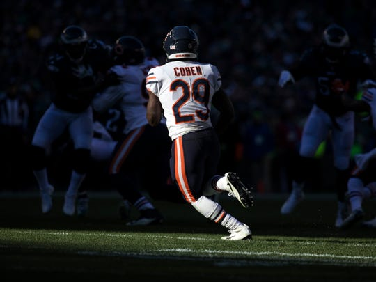 Bears running back Tarik Cohen leads the team in receptions with 71 and is second in receiving yards with 725.