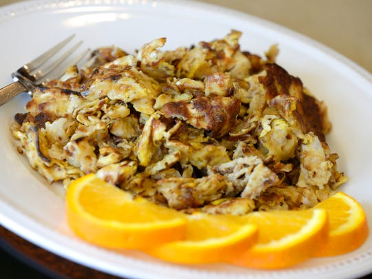 Fried matzo (matzo brei), a Passover breakfast dish,