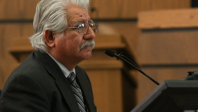 Doña Ana County Treasurer David Gutierrez testified in his trial, Wednesday, November 30, 2016. Gutierrez, who was accused of offering an employee money in exchange for sex, was found guilty of public corruption or gross immorality by a public official.