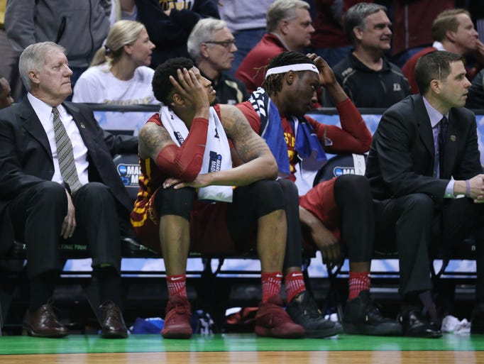 Iowa State's Darrell Bowie and Solomon Young watch